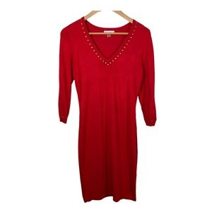 Calvin Klein Womens Sweater Dress Sheath V Neck